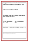 International Baccalaureate End of Unit of Inquiry Evaluation