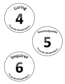 International Baccalaureate (IB) Learner Profile Cup (or other item) Labels