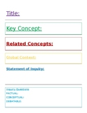 International Baccalaureate MYP Student Unit Planner template