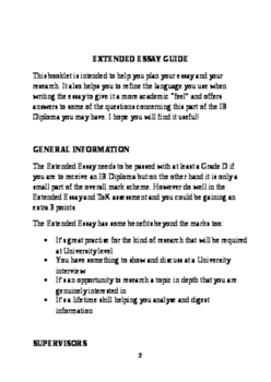 International Baccalureate Diploma Extended Essay Student Booklet 2016