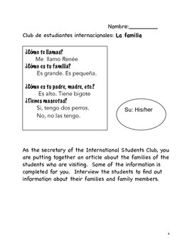 International Club: An Interpersonal Speaking Activity: Spanish (novice low/mid)