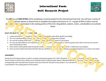 International Cuisine Research Project for FCS Foods, Nutr