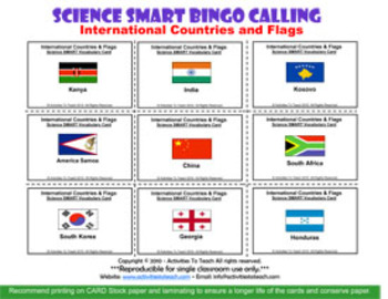 International Country Bingo - Countries and their Flags