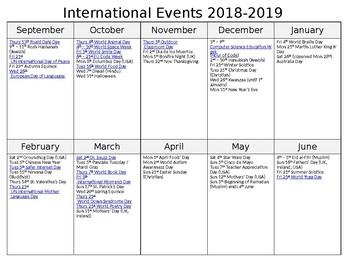 international events calendar 2018 2019