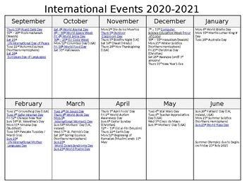 International Events Calendar 2020 2021 by A Crucial Week | TpT