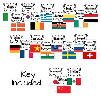 International Flags & Hello Bulletin Board/Pennant in 20 Languages - TO COLOR