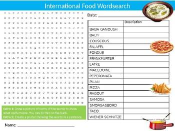 International Food Wordsearch Puzzle Sheet Keywords Activity Cuisine