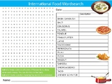 International Food Wordsearch Puzzle Sheet Keywords Activi
