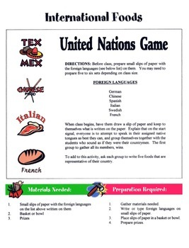 International Foods Game / Activity