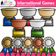 International Games Clip Art | Ribbon & Trophies for Winter Games & Summer