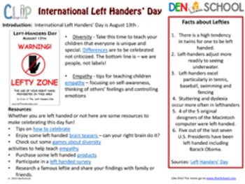 International Left Handers' Day CLIP August 13th