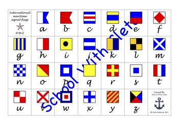 International Maritime Signal Flags Alphabet Charts With Cursive Writing