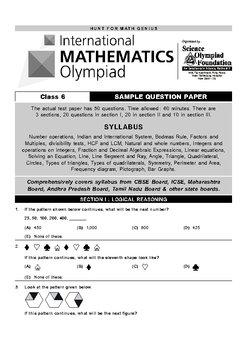 International Mathmatics Olompiad Test Examination Question Paper.