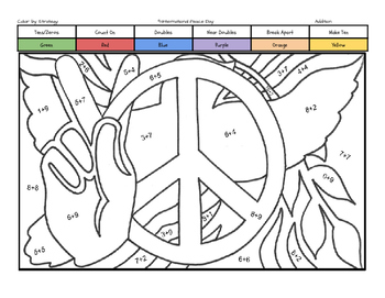 International Peace Day Coloring Page by Addition Fact Strategy
