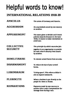 International Relations 1918-1939 Key Words
