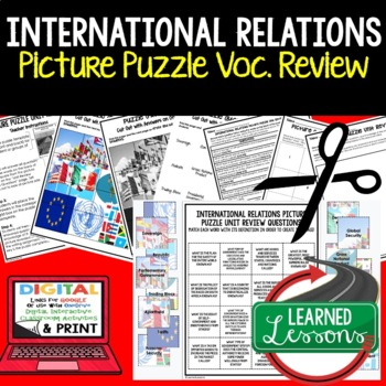 International Relations Picture Puzzle Unit Review, Study Guide, Test Prep