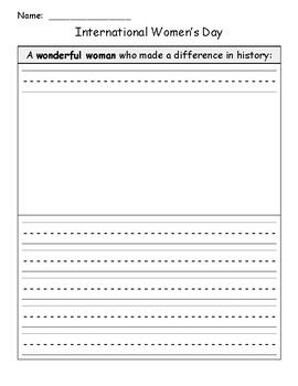 International Women's Day Writing Template