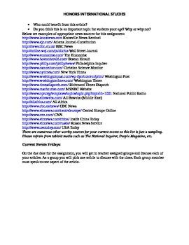Internationlal Current Events Article