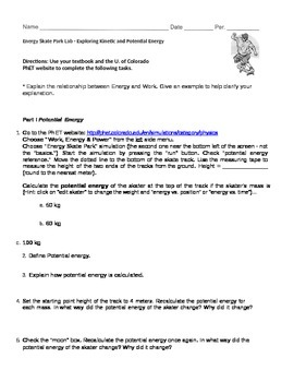 "Internet Activity ""Energy Skate Park"" Potential & Kinetic Energy"