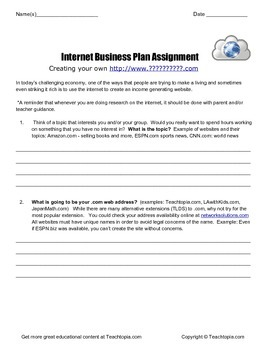 Internet Business Plan Assignment   Computer Science and Entrepreneur Assignment