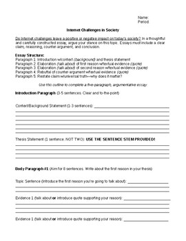 Internet Challenges: Argumentative Writing Prompt and Outline