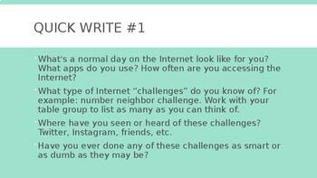 Internet Challenges: Intro PPT