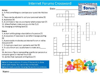 Internet Forums Crossword Puzzle Sheet Keywords Activity Computer Science