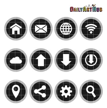 Internet Icons B&W Collage Clip Art - Great for Art Class Projects!