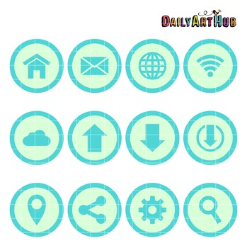 Internet Icons Collage Clip Art - Great for Art Class Projects!