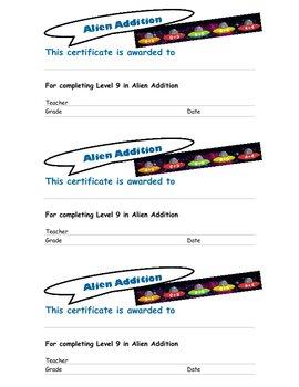 Internet Math Games Certificates