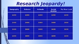 Internet Research Jeopardy Game