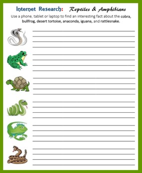 Internet Research on Reptiles and Amphibians