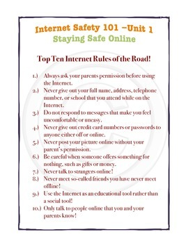 Internet Safety 101 -CYBERBULLYING! Everything a Student Needs to Know UNIT 1