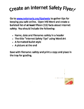 Internet Safety - Create a Bulleted List in MS Word