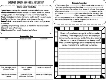 Internet Safety Interactive Notebook Pages- 3rd Grade