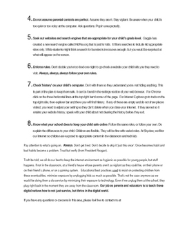 Internet Safety Letter to Parents