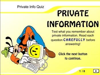 Internet Safety - Private Information FLASH Quiz Game!
