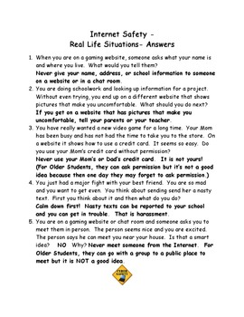 Internet Safety - Real Life Situations for Class Discussions