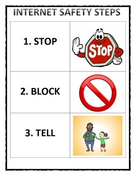 Internet Safety Steps: Stop, Block, Tell poster
