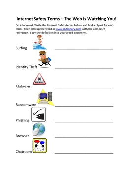Internet Safety Terms Bundle-The Web Is Watching You!