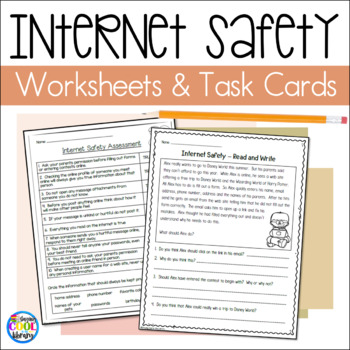 Internet Safety Worksheets and Task Cards