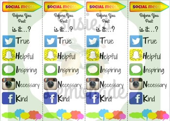 Internet Safety and Cyber and Social Media Ethics Bookmarks