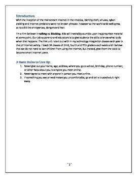 Internet Safety for Elementary Students Handbook