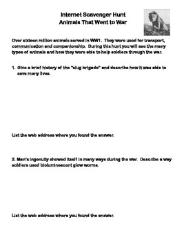 World War 1 -Animals That Went to War-WebQuest