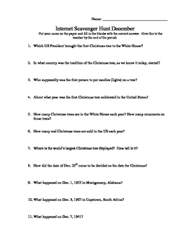 Internet Scavenger Hunt December By Campbell S Classroom Tpt