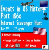 Internet Scavenger Hunt - Fifth Grade & Up US - Important Events 1860 - Today