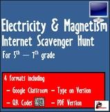 Internet Scavenger Hunt - Fifth Grade & Up - Electricity & Magnetism