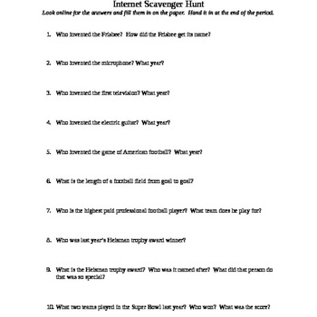 Internet Scavenger Hunt Football By Campbells Classroom Tpt