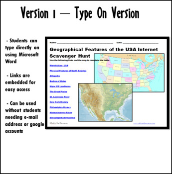 Internet Scavenger Hunt - Intermediate Grades - Geographical Features USA