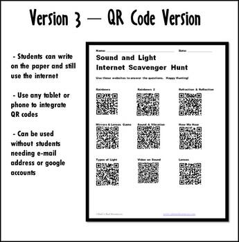 Internet Scavenger Hunt - Intermediate Grades - Sound & Light